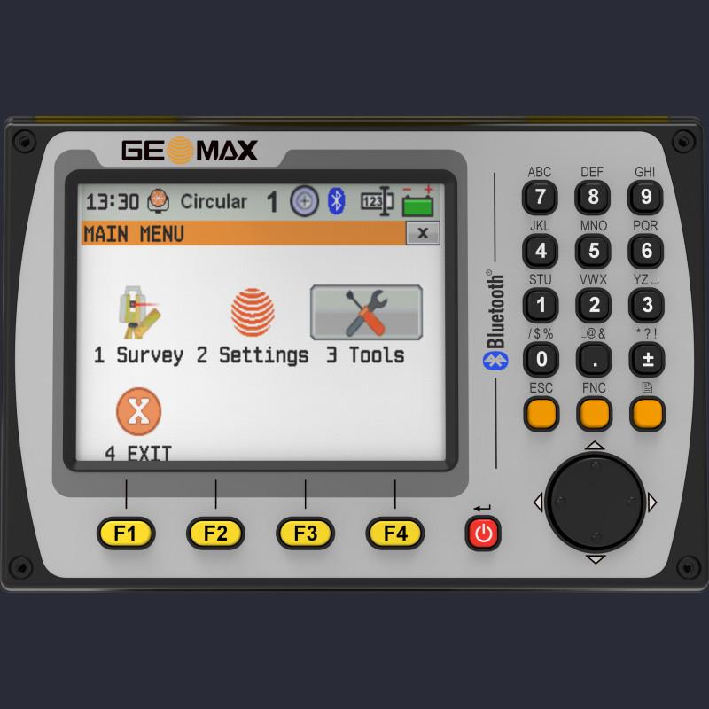 Attēls ar Geomax Zoom40 manuālā tahimetra ekrānu