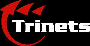 Caurspīdīgs Trinets logo ar baltiem burtiem