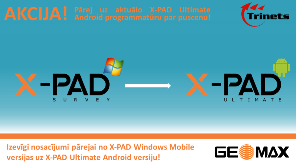 X-PAD programmas upgreids no WM uz Android