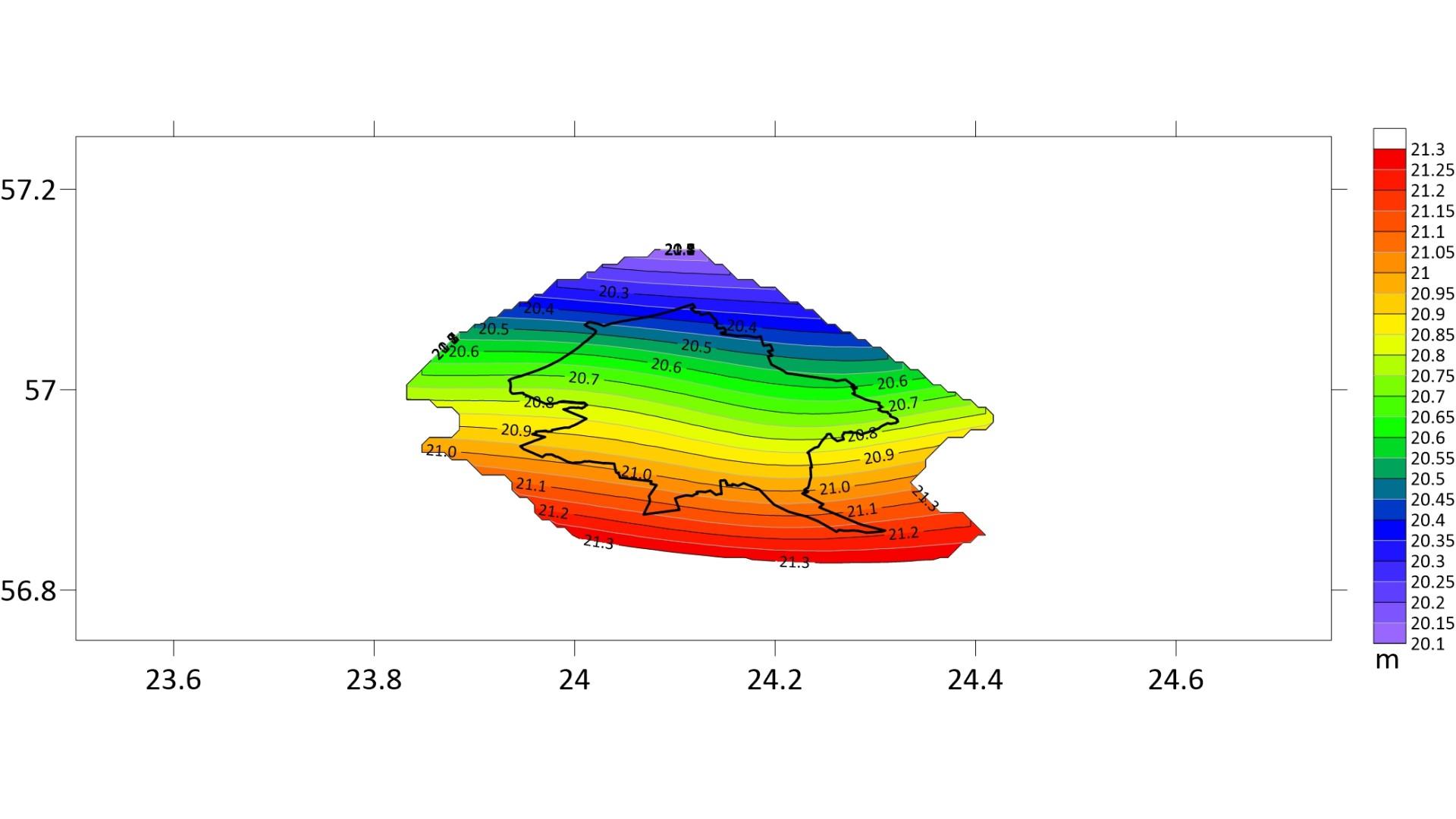 Ilustratīvs attēls ar RIGA'20 kvaziģeoīda faila pārklājumu